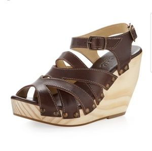 Bed stu cynthia brown leather wedge sandal